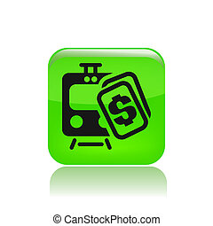 Vector illustration of single isolated train price icon