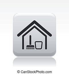 Vector illustration of single isolated home clean icon