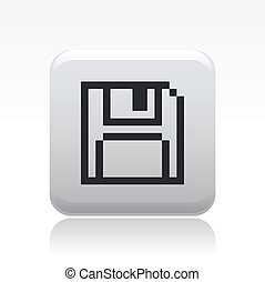 Vector illustration of single isolated save pixel icon