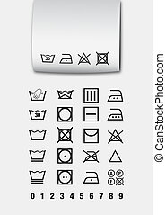 Washing symbols pictogram used for laundry and ironing
