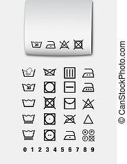 Washing symbols (pictogram) used for laundry and ironing