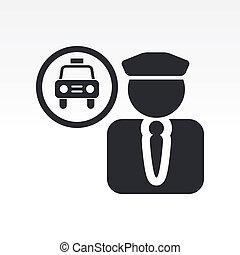 vector, Ilustración, solo, aislado, taxi, conductor,...
