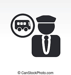 Vector illustration of single isolated bus driver icon
