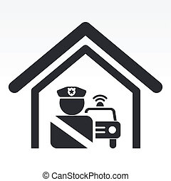 Vector illustration of single isolated police station icon