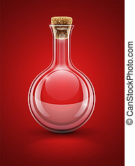 empty glass chemical flask with cork vector illustration...