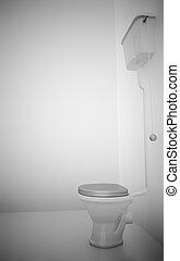 white ceramic toilet in surroundings light walls