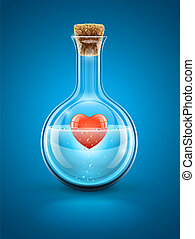 Glass flask bottle with red heart in water inside closed by...