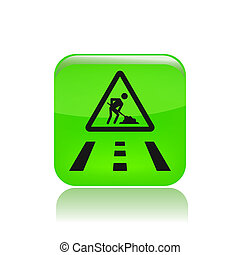 Vector illustration of single isolated road work in progress icon