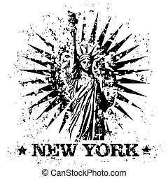 Vector illustration of single isolated New York stamp icon