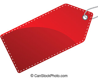 Vector illustration of single isolated red label tag