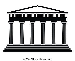 vektor, Illustration, singel, isolerat, tempel, ikon