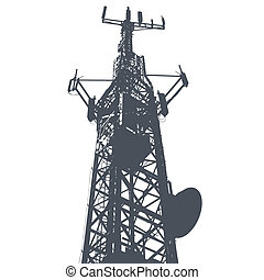 Vector illustration of single isolated antenna grunge...