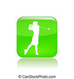 Vector illustration of single isolated golf player icon