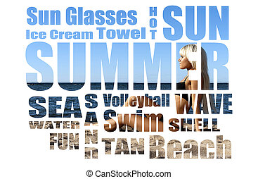Conceptual collage of Summer words over picture Isolated on...