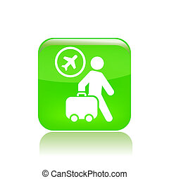 Vector illustration of single isolated travel fly icon