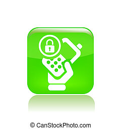 Vector illustration of single isolated lock phone icon