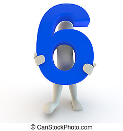 3D Human character holding blue number six