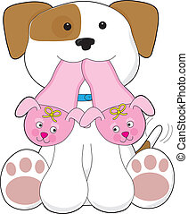 Cute Puppy Slippers - A cute smiling puppy is holding out a...