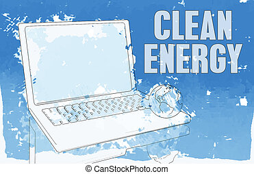 Clean Energy in Blue on Computer Power