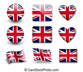 The British flag - set of icons and flags. glossy and matte...