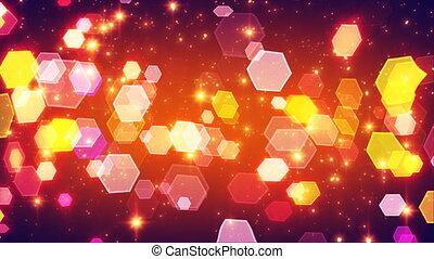 flashing hexagonal bokeh lights - computer generated...