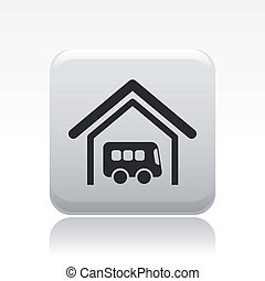 Vector illustration of single isolated bus station icon