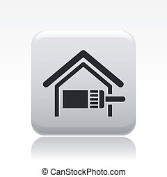 Vector illustration of single isolated paint home icon