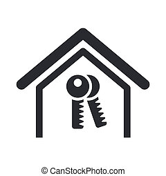 Vector illustration of single isolated home key icon
