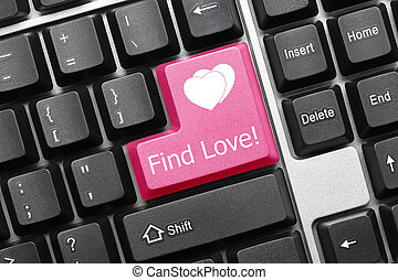 Conceptual keyboard - Find Love pink key - Close up view on...