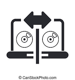 Vector illustration of single isolated cd copy icon