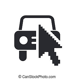 Vector illustration of single isolated web car icon