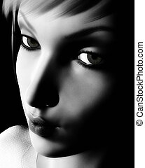 Black and White Digital Female Portrait - Digital portrait...