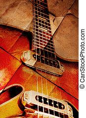 Vintage guitar, close up,on grunge background