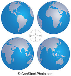 Vector illustration of world globe maps and compass