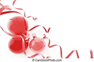 Three red christmas baubles in an environment of ribbons on a white background