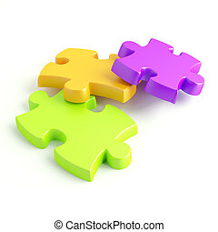 Parts of a puzzle with funny colors on a white background