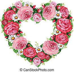 corazón, marco, rosas