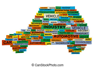 words describing the automotive industry - cloud of words...