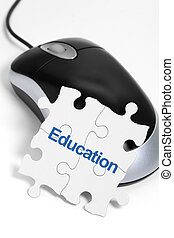 Education - computer mouse and Puzzle, business concept of...
