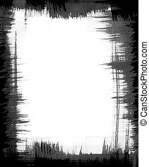 Brush Pattern Frame - A black brush-stroke frame with jagged...