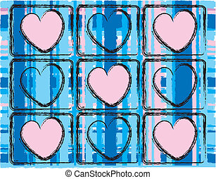 Pink Hearts And Blue Plaid Design - simple pattern with blue...