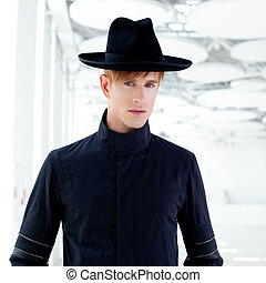 black far west modern fashion man with hat in modern indoor