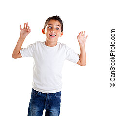 children with funny expression gesture open fingers