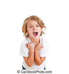 children excited kid with happy winner expression isolated...