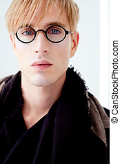 blond modern student man with nerd glasses - blond modern...