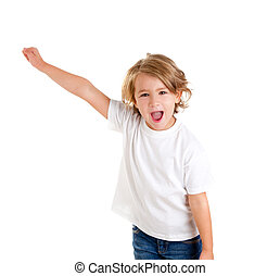 children kid screaming with happy expression hand up...