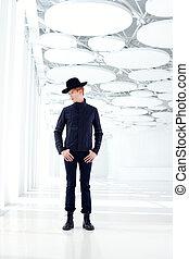 black far west modern fashion man with hat