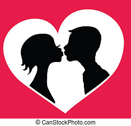 Kissing couple - Kissing boy and girl silhouettes in heart...