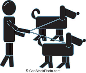 Stick Figure Walking His Puppies - drawing of a simple...