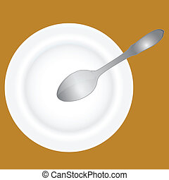 Deep dish and spoon - Spoon into an empty soup plate Vector...